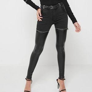 Maniere de voir denim leather legging